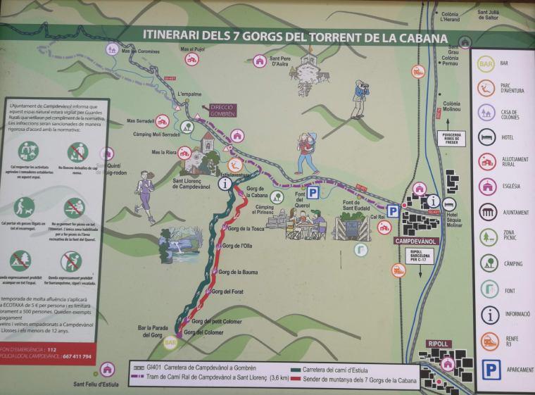 mapa ruta dels 7 gorgs